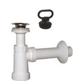 Umyvadlový sifon, nerez výpust, zátka s uchem , odpad 40mm, bílá