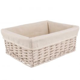 Košík proutí/bavlna 40x30x16,5 cm BÉŽOVÝ ORION