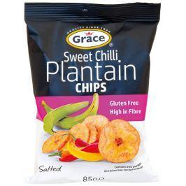 Grace bezlepkové chipsy ze zelených banánů plantain sweet chilli