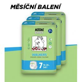 Muumi Baby Walkers Extra Large 16-26 kg, vel. 7, měsíční balení eko plenkových kalhotek, 3x34 ks