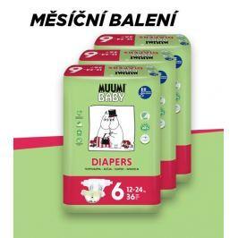 Muumi Baby Junior 12-24 kg, vel.6, měsíční balení eko plen, 3x36 ks Plenkové kalhotky