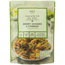 Marks & Spencer Kousky kuřecího masa v rajčatové omáčce s kousky vepřové klobásy chorizo