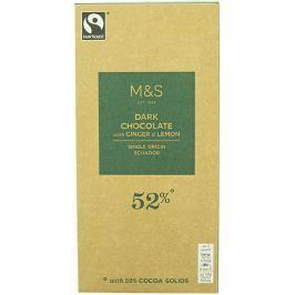 Marks & Spencer Hořká čokoláda s kousky krystalizovaného zázvoru a citrónovými kousky