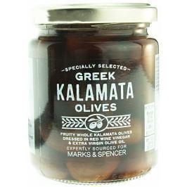 Marks & Spencer Celé černé olivy Kalamata ve slaném nálevu s červeným vinným octem a extra panenským olivovým olejem