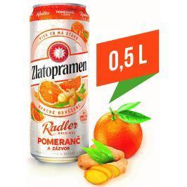 Zlatopramen Radler Pomeranč a zázvor ochucené pivo plech