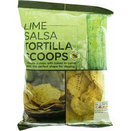 Marks & Spencer Bezlepkové tortillové plátky z kukuřičné a cizrnové mouky s příchutí limetkové salsy