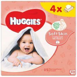 Huggies Soft Skin Quatro dětské vlhčené ubrousky (4x56ks)