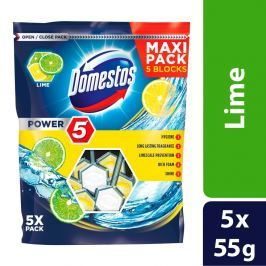 Domestos Power 5 Limetka tuhý WC blok 5 x 55g