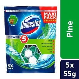Domestos Power 5 Borovice tuhý WC blok 5 x 55g