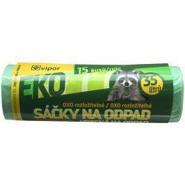 Vipor igelitové sáčky na odpad zatahovací EKO SUPER zelené 35l, 15ks