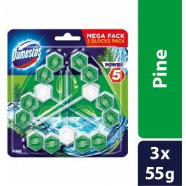 Domestos Power 5 Borovice tuhý WC blok triopack 3 x 55g