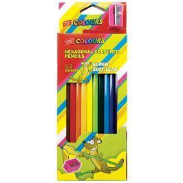 EASY Colours Šestihranné nelámavé pastelky 12 barev s ořezávátkem