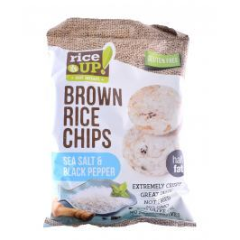 Rice Up Celozrnné rýžové chipsy - mořská sůl s černým pepřem