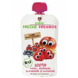 erdbär Freche Freunde BIO Ovocná kapsička jablko, jahoda, borůvka a malina