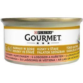 Gourmet Gold kousky ve šťávě s lososem a kuřetem