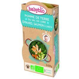 BABYBIO Brambory a špenát s lososem a rýží