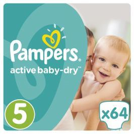 Pampers Active Baby-Dry plenky Junior 11-18kg (velikost 5) 64ks
