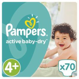 Pampers Active Baby-Dry plenky Maxi+ 9-16kg (velikost 4+) 70ks
