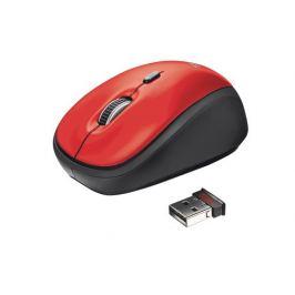 TRUST Myš Yvi Wireless Mouse - red, červená, USB, bezdrátová