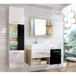 Milano - Koupelnová sestava (černá/bílá,boky sv.dub st.tropez)