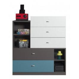 Tablo - komoda, 5x zásuvka (grafit/bílá, lesk/atlantic)