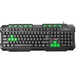 Klávesnice C-TECH GMK-102-G, USB, černo-zelená, multimediální