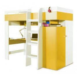 Mobi - Postel se stolem 205/165/117 (bílá lesk/žlutá)
