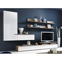 Linea - obývací stěna 2657457 (dub tmavý/bílá lak/dub tmavý)