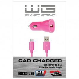 Autonabíječka colour USB (2,1A)+dat. kabl micr-USB/růžová