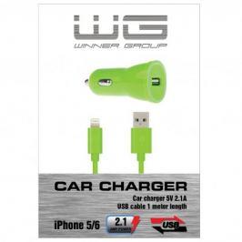 Autonabíječka colour USB (2,1A)+dat.kabl iph 5/6/zelená