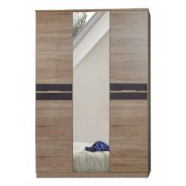 Game - Skříň, 2 dveřová, se zrcadlem (dub, černá)