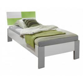 Sunny - Postel, 90x200cm (alpská bílá se zeleným jablkem)