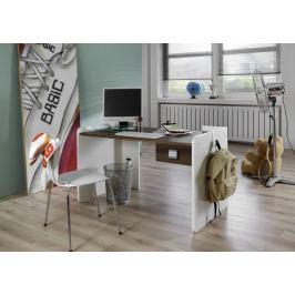 Jette - Dětský pracovní stůl (bílá, kolumbijský ořech)