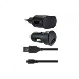 Bigben Micro USB nabíjecí sada 1A do auta a do sítě 3v1, černá