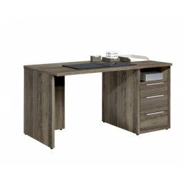 Work - Stůl, 3x zásuvka, 120x74x70 (dub tmavý)