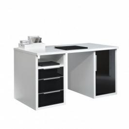 Work - 3x zásuvka, skříňka, 1x police, 140 cm (bílá, černé sklo)