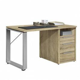 Work - Stůl, 3x zásuvka, 140x74x70 (dub)