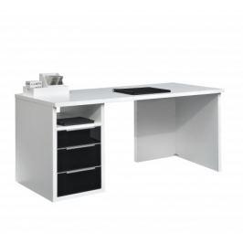 Work - Stůl, 3x zásuvka (bílá, černé sklo)