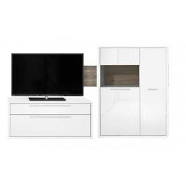 Gamble - Obývací stěna 570703L (bílá/bílá lesk/panel dub tmavý)