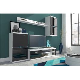 Intel - Obývací stěna (bílá/černá lesk)