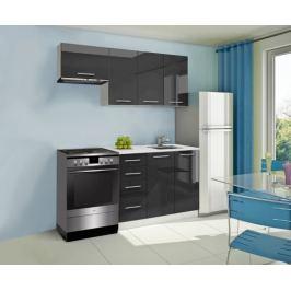 Mondeo - Kuchyňský blok A 180/120 cm (černá, mramor)