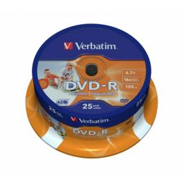 Verbatim DVD-R 16x, printable 25ks cakebox (43538)