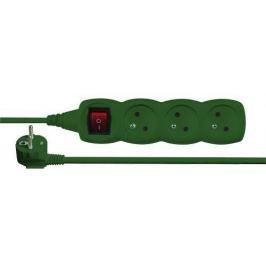 Emos prodlužka 3 zásuvky, 3m s vypínačem, zelená