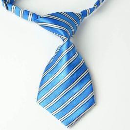Modrá kravata pro psa s proužky Modrá