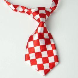 Červeno-bílá kostkovaná kravata pro psa
