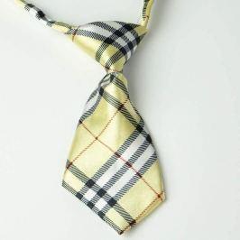 Béžová károvaná kravata pro psa Béžová