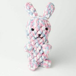 Zopet Modro-růžovo-bílý zapletená zajíc pro psa | 15 cm
