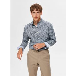 Modrá vzorovaná slim fit košile Selected Homme Tyler