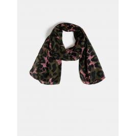 Khaki šátek s leopardím vzorem M&Co