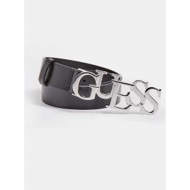 Guess černý kožený pásek Logo Buckle
